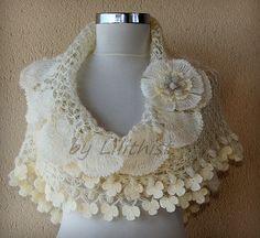 Ivory Gold Wedding Shawl Crochet Shawl Bridal Shawl Wedding