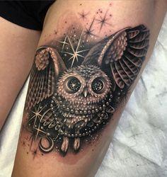 Starry Eyed Owl Tattoo #owl #stars