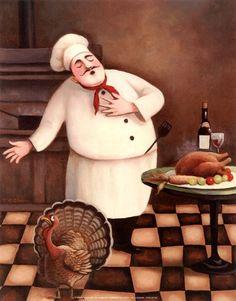 Louisiana Thanksgiving Feast, Part 2 Fat Chef Kitchen Decor, Kitchen Art, Creation Photo, Fine Art Prints, Framed Prints, Le Chef, Culinary Arts, Vintage Paper, Prints For Sale