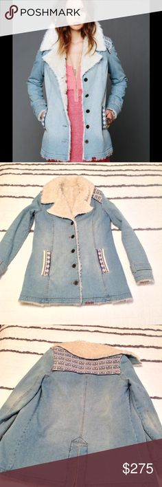 Free People denim and sherpa I am reluctantly letting go of my RARE and highly sought after size XS denim and sherpa jacket. Beautiful embroidered details. This jacket is absolutely stunning. Pre-owned but in good condition Free People Jackets & Coats