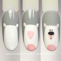 No hay descripción de la foto disponible. Animal Nail Designs, Nail Art Designs Videos, Animal Nail Art, Nail Art Videos, Xmas Nails, Christmas Nails, Diy Nails, Cute Nail Art, Easy Nail Art