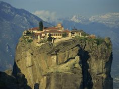 Amazing location) Monastery of the Holy Trinity, Meteora, UNESCO World Heritage Site, Greece, Europe Photographic Print Places Around The World, Around The Worlds, Crazy Home, Unusual Buildings, Strange Places, Unusual Homes, Amazing Architecture, Classical Architecture, World Heritage Sites