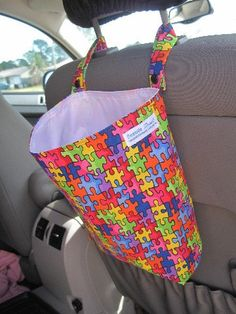 Reusable Car Trash Bag Puzzle Pieces for Autism Awareness. use shopping reusable bags too for garbage or storing