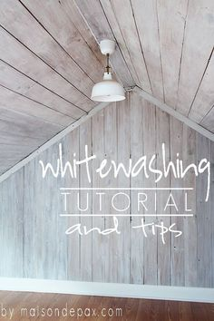 Whitewash Wood A clear tutorial and helpful tips on how to give wood a bright, beautiful whitewash. at A clear tutorial and helpful tips on how to give wood a bright, beautiful whitewash. Wood Ceilings, My New Room, Home Projects, School Projects, School Ideas, Diy Furniture, Whitewashing Furniture, Painted Furniture, Furniture Refinishing