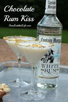 Chocolate Rum Kiss Cocktail Recipe; A creamy, smooth and delicious rum cocktail featuring Captain Morgan White Rum. This Chocolate Rum Kiss Cocktail is a decadent drink that makes any occasion special. http://www.annsentitledlife.com/wine-and-liquor/chocolate-rum-kiss/
