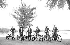 Groomsmen with mountain bikes | Vintage wedding photography | www.newvintagemedia.ca | Kawartha Lakes Wedding