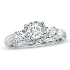 1 CT. T.W. Diamond Three Stone Engagement Ring in 14K White Gold