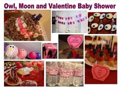 Our Owl, Moon and Valentine themed baby shower was such a hit! Decor items: Owl lanterns, owl topper on diaper cake, owl figurines, owl lollipop stands, popcorn boxes, owl water bottle labels, owl cupcakes, moon and star banners, heart candies, owl hair facinators, and balloon bunches.