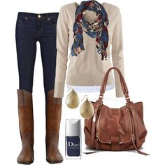 Fabulous boots paired with skinny jeans, a comfy top and super cute scarf is my perfect weekend errand running look!!