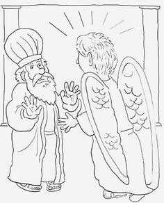 Angels appear to Shepherds coloring page for Christmas