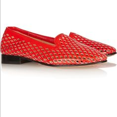Dieppa Restrepo red Dandy loafers Comes with box and original dust bag. Heel measures approximately 20mm/ 1 inch Perforated patent-leather Round toe Slip on US sizing Dieppa Restrepo Shoes Flats & Loafers