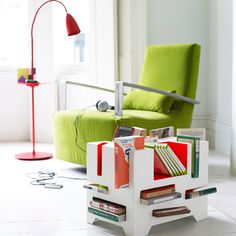 contemporary green reading nook with cool end table shelf Living Room Storage, Living Room Furniture, Modern Furniture, Small Bookcase, Bookshelves, Restaurant Chairs For Sale, Kitchen Room Design, Mid Century Dining Chairs, Room Accessories