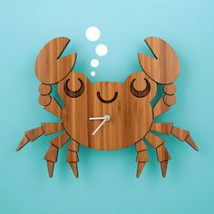 Our sweet Bamboo Crab Clock is a cute wooden kids wall clock and great decor for the ocean baby nursery, nautical theme room or beach home. Ocean Themed Nursery, Nursery Themes, Clock For Kids, Bamboo Wall, How To Make Wall Clock, Wood Clocks, Scroll Saw, Grafik Design, Wood Toys