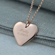 50a0fd09d80 Engraved Rose Gold Heart Necklace by Lily Charmed Rose Gold Heart Necklace
