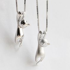 Cool! Naughty Sterling Silver Kitten Swinging Pendant Cute Animals Necklace just $23.99 from ByGoods.com! I can't wait to get it!