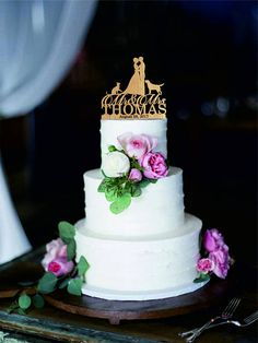 Wedding cake topper with dog and cat Silhouette cake topper