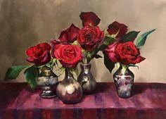 Rose Paintings, Oil Painting Flowers, Beautiful Paintings, Red Flowers, Vase, Illustrations, Roses, Illustration, Vases