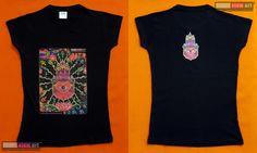 The Hand Damen T-Shirt UV Psy Trance Schwarzlicht Glow-in-the-Dark Hippie Goa
