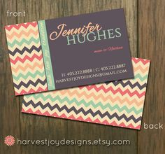 Vintage Modern Chevron Business Card - Chevron Calling Card - Faith Love Joy - Coral Mint Gray - Digital Printable Premade Business Card on Etsy, $14.00