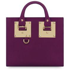 Women's Sophie Hulme 'Albion' Box Tote (2,230 SAR) ❤ liked on Polyvore featuring bags, handbags, tote bags, plum, tote purses, purple leather handbag, leather handbag tote, genuine leather tote and leather tote handbags