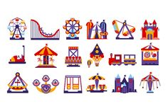 Amusement Park Vector Flat by TopVectors on @creativemarket