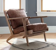 Shop raylan leather armchair from Pottery Barn. Our furniture, home decor and accessories collections feature raylan leather armchair in quality materials and classic styles. Plywood Furniture, Entryway Furniture, Furniture Vanity, Rustic Furniture, Luxury Furniture, Summer Deco, Upholstered Arm Chair, Swivel Armchair, Chair Cushions