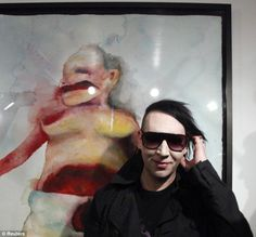 Rock horror picture show: Marilyn Manson puts his predictably dark and disturbing artwork on display Arte Marilyn Manson, Marilyn Manson Paintings, My Favorite Music, Favorite Person, Brian Warner, He Makes Me Happy, Horror Picture Show, The Villain, Celebs