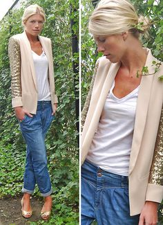 Maje Blazer, America Today T Shirt, Only Jeans, L'autre Chose Peep Toes - Gold Crush - Valerie Brems Mode Chic, Mode Style, Style Me, Look Fashion, Fashion Beauty, Autumn Fashion, Net Fashion, Fashion Models, Moderne Outfits