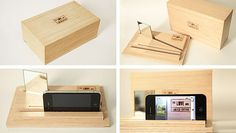 This Simple Wooden Box Lets the iPhone 4 Film Both Side