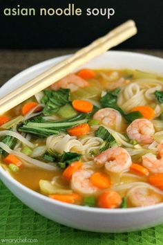 Try this authentic-tasting Asian rice noodle soup. This homemade pho is perfect. Try this authentic-tasting Asian rice noodle soup. This homemade pho is perfect for soothing a sore throat, but you don& need to be sick to enjoy it! Rice Noodle Soups, Rice Soup, Asian Noodle Soups, Shrimp Rice Noodles, Thai Shrimp Soup, Pho Noodle Soup, Rice Noodle Recipes, Seafood Soup, Asian Shrimp Soup Recipe