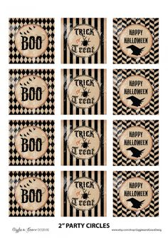 "Free! Amazing Halloween Printable Set ""Haunted House"".  This set includes: invitations, party circles, drink bottle labels, folding food labels and a ""Trick or Treat"" banner."