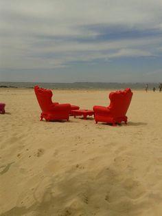 Beach bar in La Baule (France).