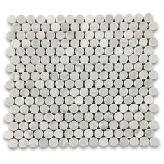 Carrara White 3/4 inch Penny Round Mosaic Tile Honed