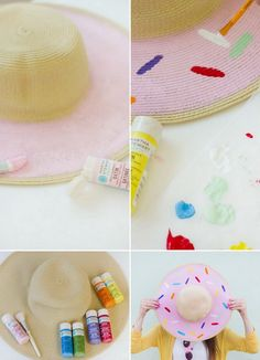 15 Best Sun Hat Refasion Tutorials for Women, Diy And Crafts, DIY Donut Floppy Hat. See the tutorial here. Diy Arts And Crafts, Crafts To Do, Sombrero A Crochet, Diy Donuts, Diy Y Manualidades, Donut Decorations, Painted Hats, Kawaii Diy, Floppy Hats