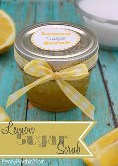 This Lemon Sugar Scrub is so refreshing and makes you feel invigorated! Make it as a gift for a teacher, coach ..... or just make it for yourself!!!