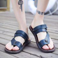 Men's Leather Sandals Clip Toe Casual