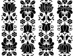Seamless floral pattern - Kalocsai embroidery - Hungarian folk royalty-free stock vector art