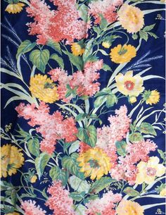 Vintage Waverly Schumacher Fabric Blue Floral 84 X 45 Yellow Pink Crease Resistant
