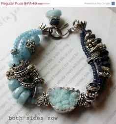 ON SALE chunky bracelet, drusy bracelet, aquamarine bracelet, blue iolite bracelet, charm bracelet, moonstone bracelet