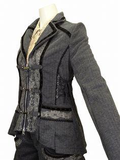 like the feminizing of a grey pinstripe menswear fabric blazer