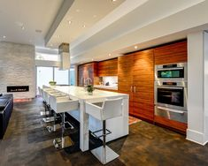 Contemporary Kitchen with Euro Style - Sunny Adjustable Bar Stool - White, Breakfast bar, Simple marble counters, Flush