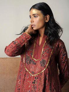 Madder-Black Ajrakh Cotton Kurta with Sequin Work by Jaypore