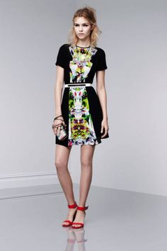 The Prabal Gurung for Target Look Book Is Here!: Short-sleeve dress in First Date print and black, $39.99; miniaudiere in Nolita print, $34.99; floral necklace, $39.99; crystal teardrop pendant necklace, $19.99; wedge sandals in Apple red, $29.99