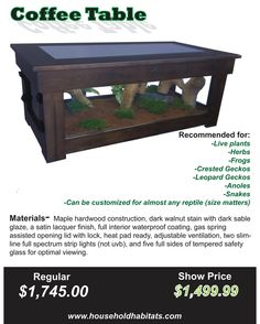 coffee table with built in terrarium!