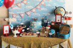 Dessert table at a vintage airplane birthday party! See more party planning ideas at CatchMyParty.com!