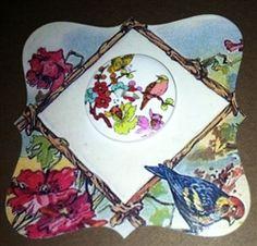 Die-Cut Card from Vintage Postcard Bird & Poppies 1 Wooden Bird Button $3.99 @ Nanalulus Linens and Handkerchiefs