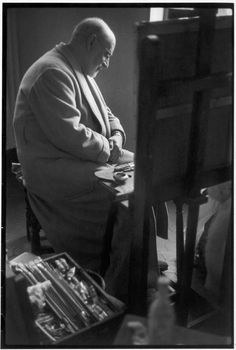Henri Matisse in his Atelier. (Cimez district, Nice, France), 1944.    Photo by Henri Cartier-Bresson