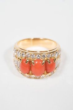 Bulgari Mid-Century Modernist Coral Diamond Gold Ring 4