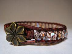 Beaded Leather Wrap Bracelet Pretty in by CristinaDavisJewelry, $20.00