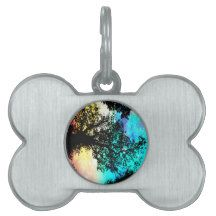 Black Trees Colorful Space Pet Name Tag